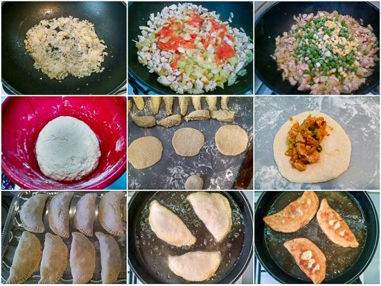 Punjene pileće pogačice. Pogačice sa filom od povrća (paprike, kukuruz, grašak i paradajz), u tandemu sa pilećim prsima, umotane u tijesto pa pečene. Rezultat je nešto kao glavno jelo, salata i prilog sve odjednom.