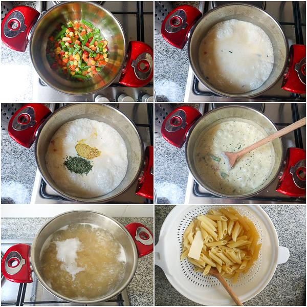 Pasta sa povrćem u bijelom sosu je brzo jelo (gotovo za manje od 20 minuta), za one dane kada želite nešto brzo i relativno zdravo.
