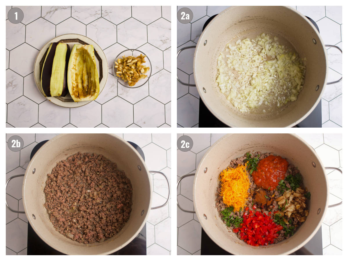 Four photos picturing steps to make stuffed eggplant.