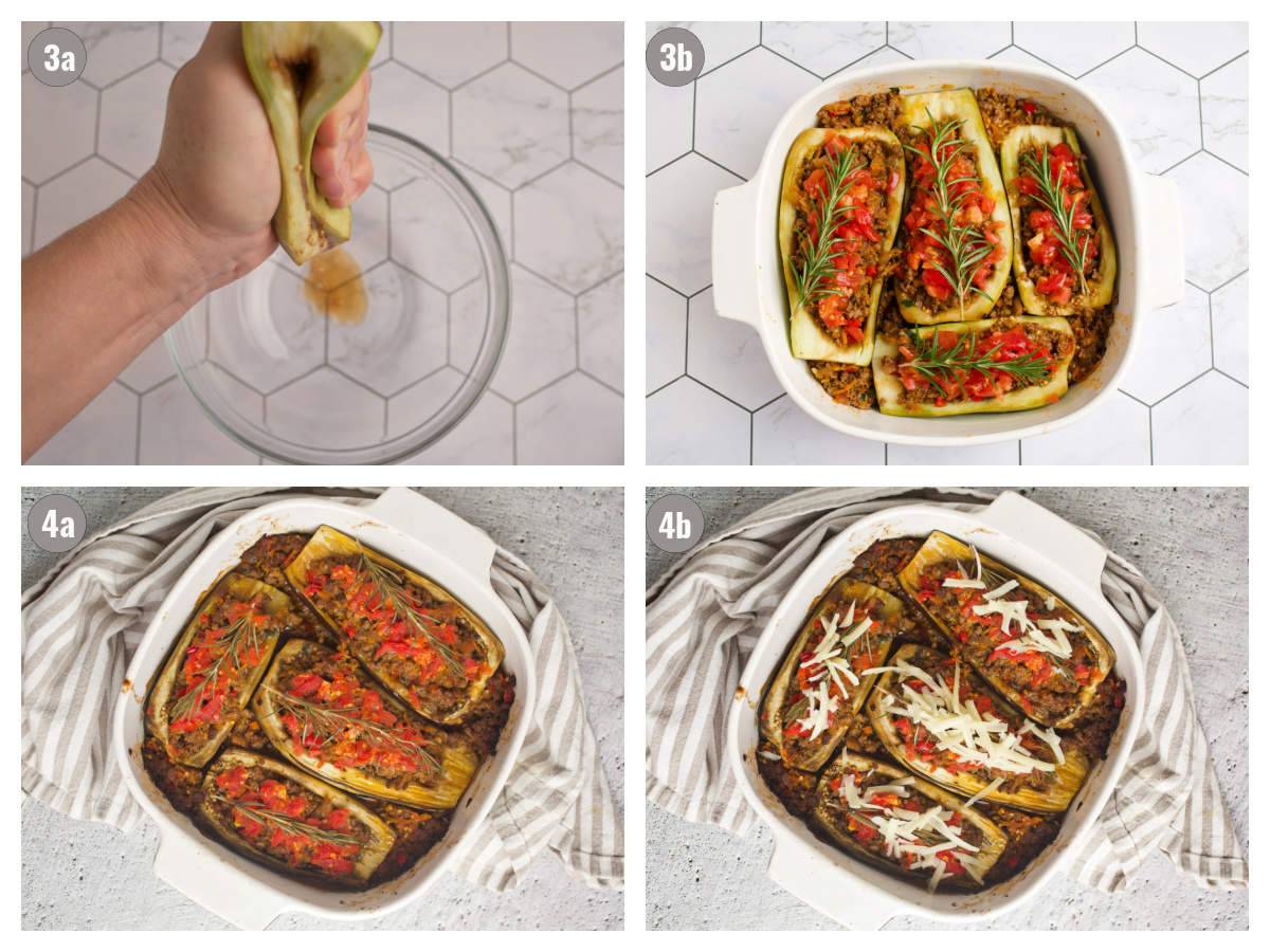 Four more photos depicting how to make stuffed peppers.