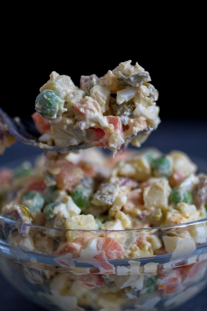 russian salad, salad olivier, russian olivye salad | balkanlunchbox.com