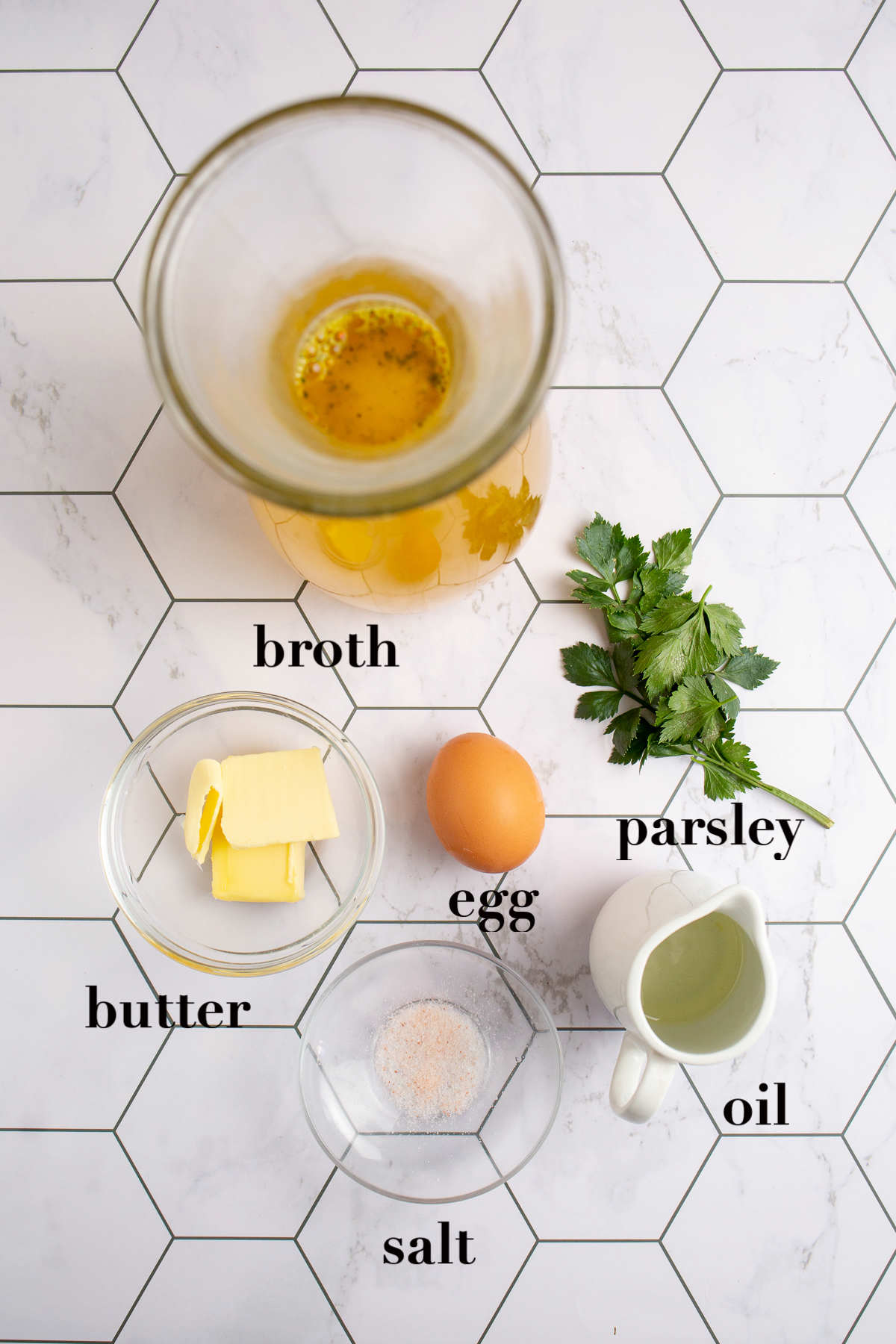 Overhead photograph of the table with six ingredients.