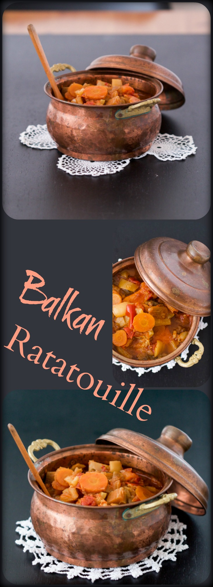 Balkan Ratatouille (Djuveč) is a rich vegetarian dinner dish. Meat lovers are welcome to add grilled chicken or beef on the side.
