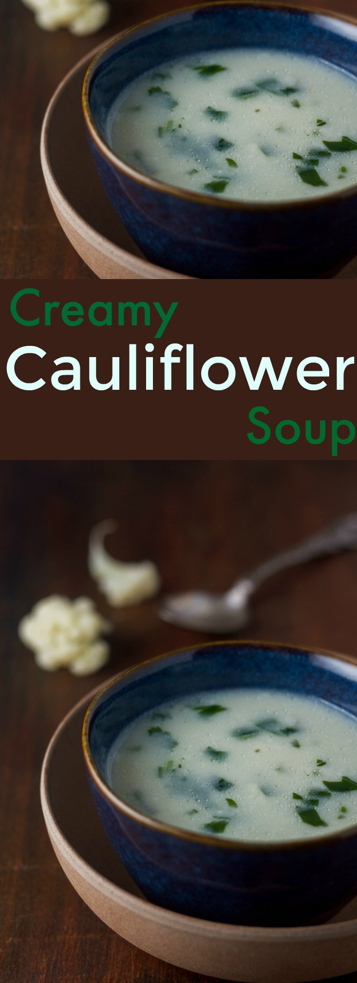 This one is an easy one: creamy cauliflower soup. Exactly what it sounds like. And it takes thirty-ish minutes or so from start to finish.
