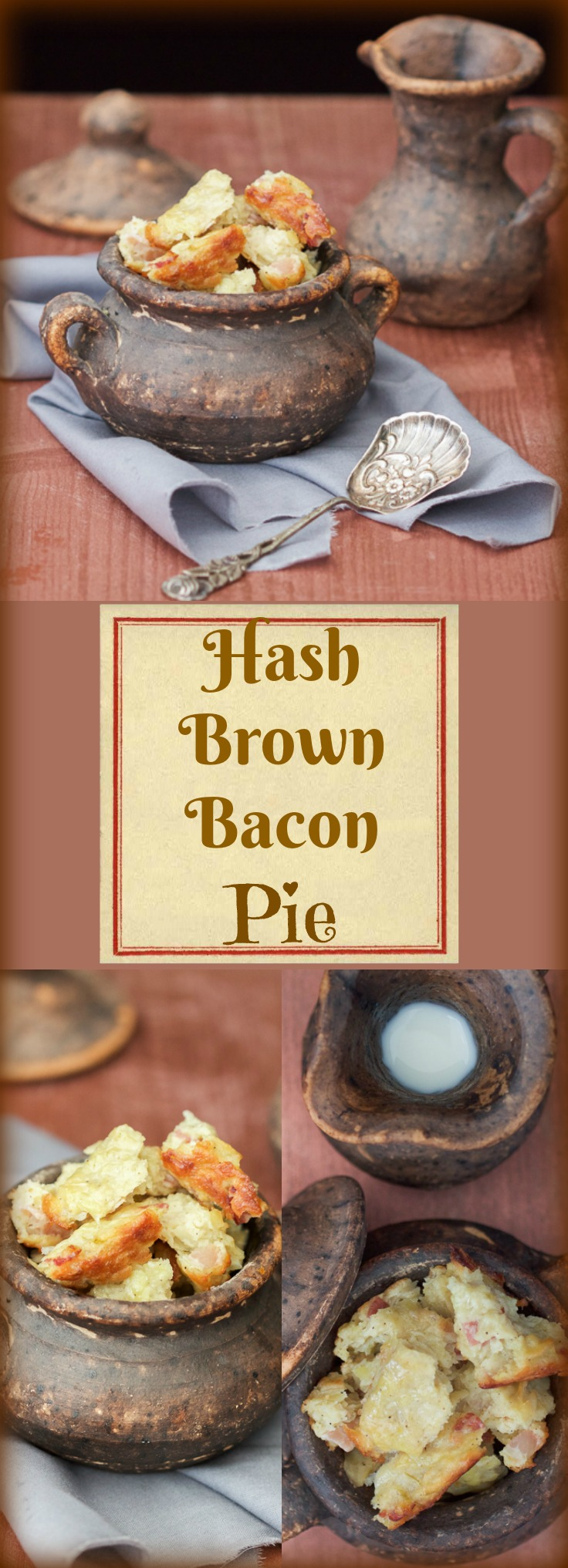 Hash Brown Bacon Pie is exactly what it sounds: heavenly tasting grated potatoes, combined and baked with bacon bits.
