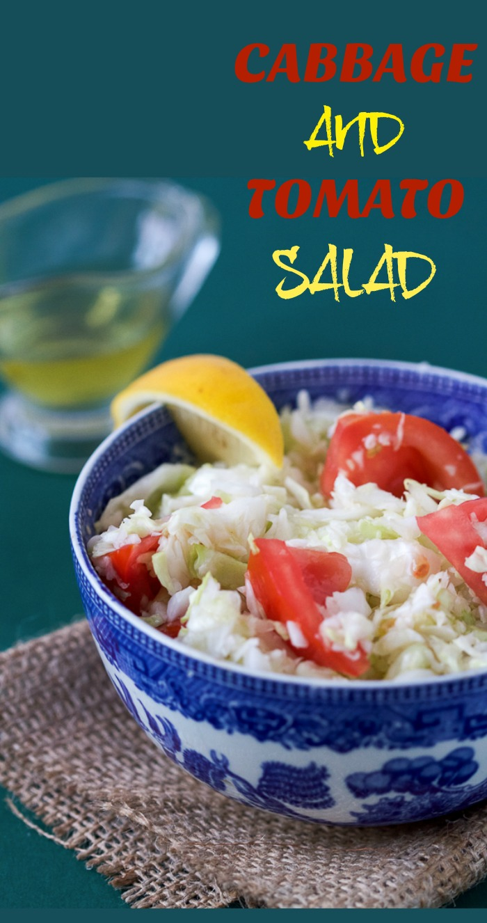"""Why didn't I hear about this salad before?"" fresh shredded cabbage and tomato salad with a lemon vinaigrette."