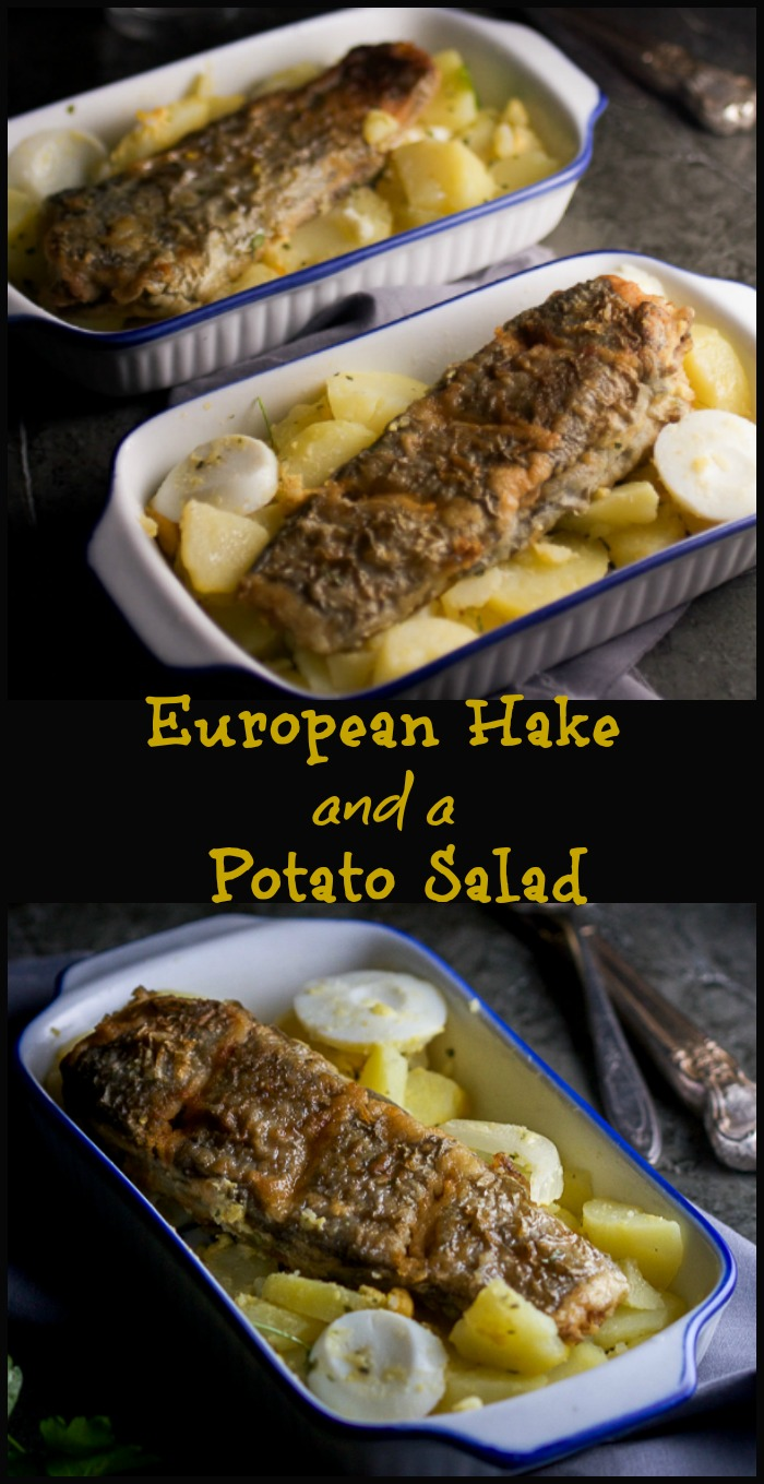 Learn to love fish: European hake (cod's cousin) with a Balkan potato salad typically served with seafood.