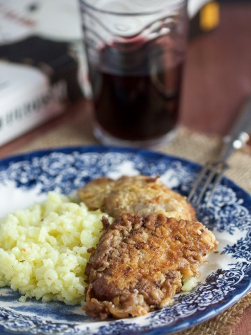 Let me break down these red wine veal schnitzels. Today we're making veal (which is nothing but a younger version of beef) schnitzels (basically just means breaded meat), baked in red wine (I don't need to explain red wine to you).