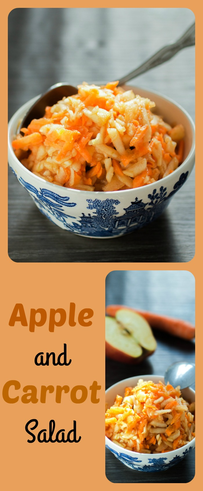 "Apple and carrot salad is more a dessert and less a salad. This simple 1:1 carrot to apple (grated) equation is the healthiest, but most appeasing answer to the quintessential question ""Is there anything sweet to eat in this house?"""