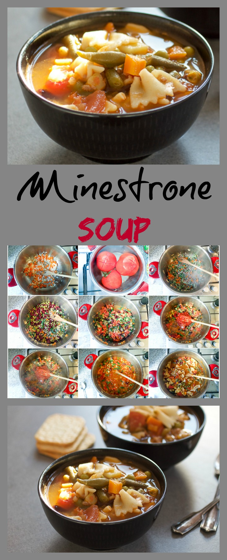 Minestrone soup: thick, warm, comforting and overflowing with vegetables.