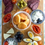 Easy way to make meza, Balkan appetizer platter.