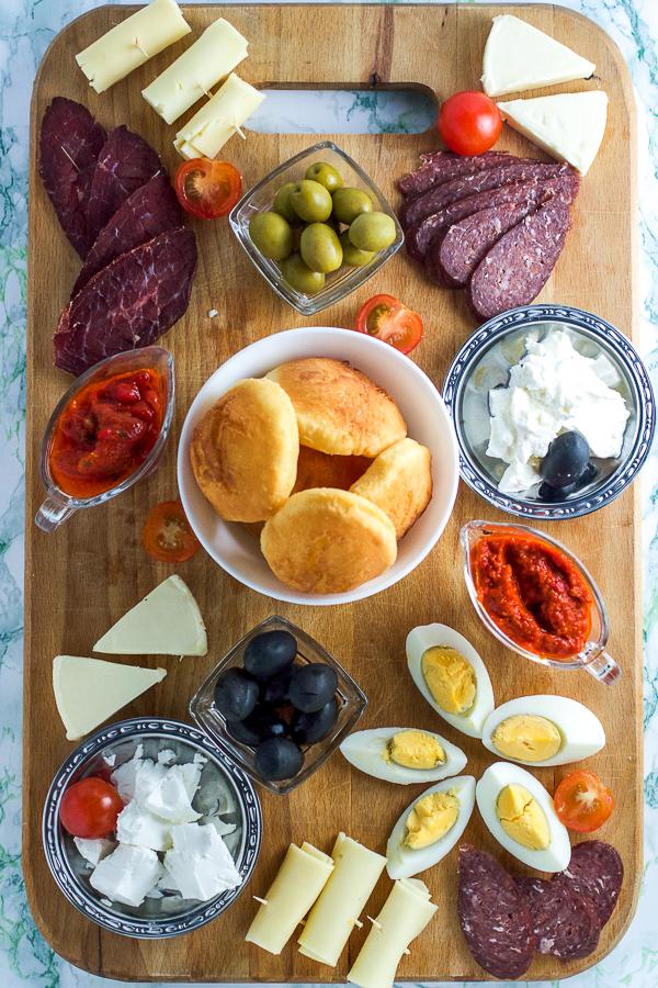 Easy way to make meza, Balkan appetizer platter.