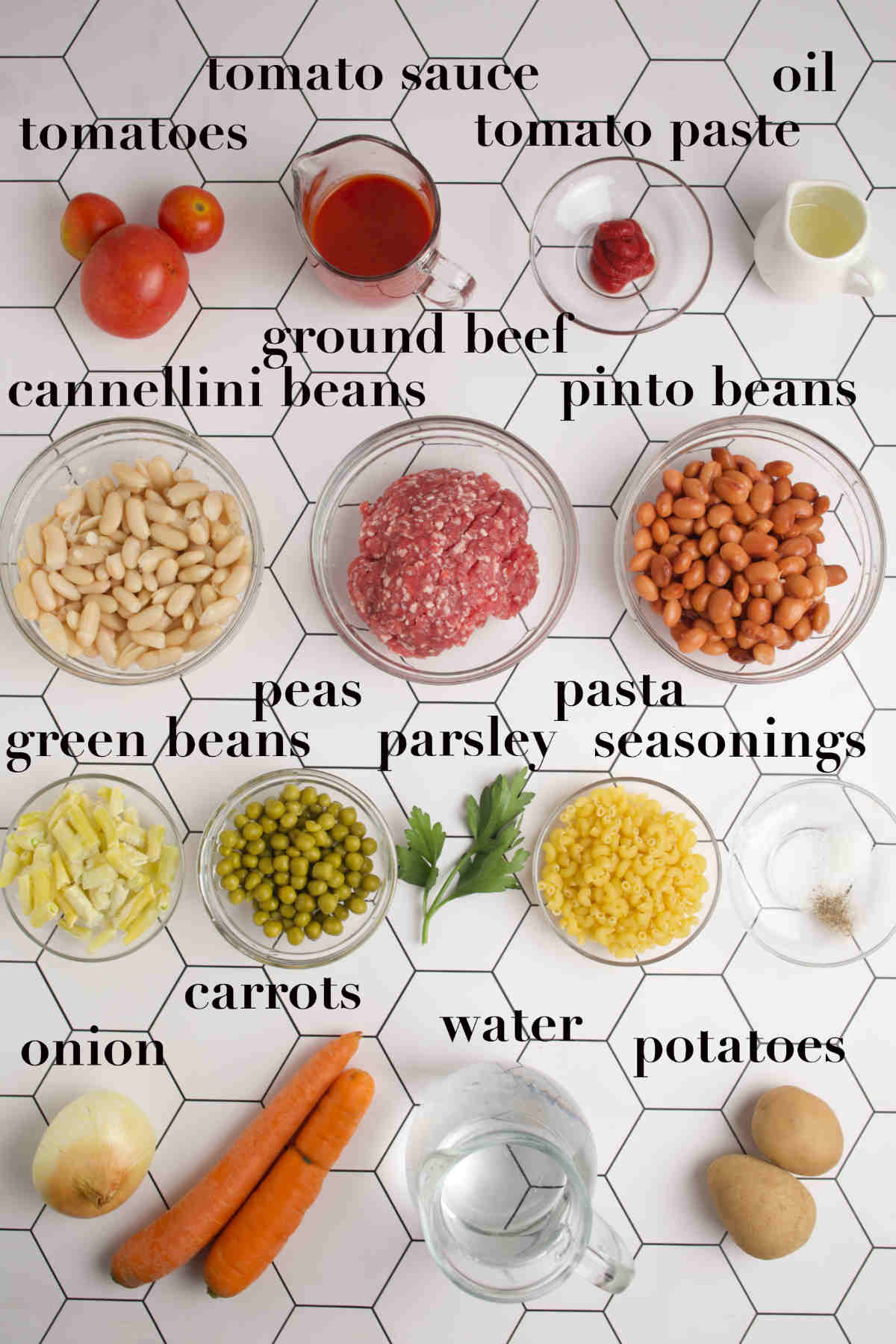 Overhead photo of ingredients for the meat soup.