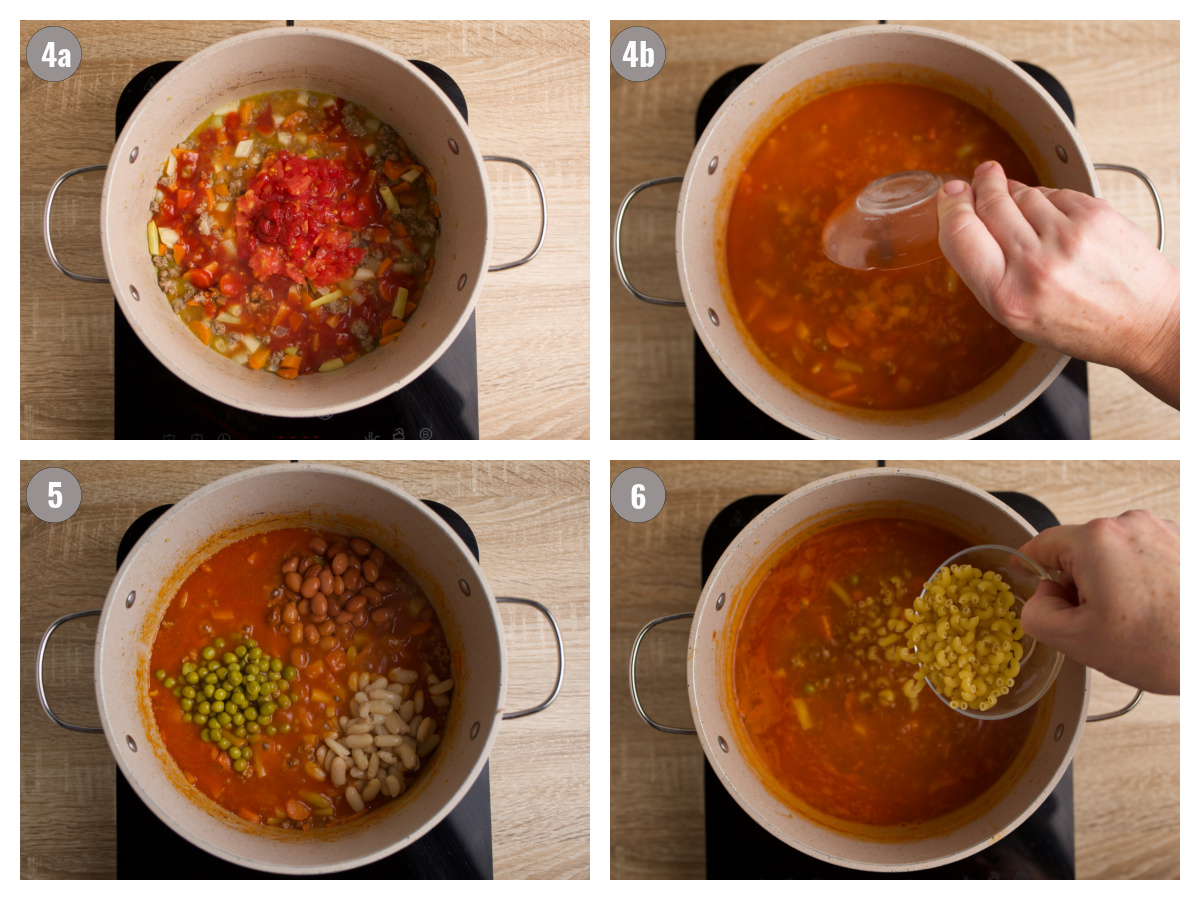 Four photographs of pots with different ingredients.