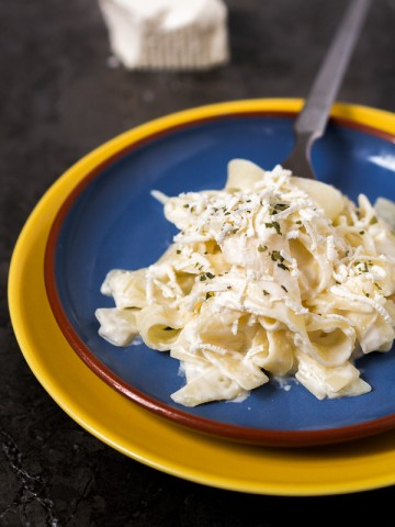Tagliatelle with milk, sour cream, and feta cheese. Comfort on your table in less than 30-min.