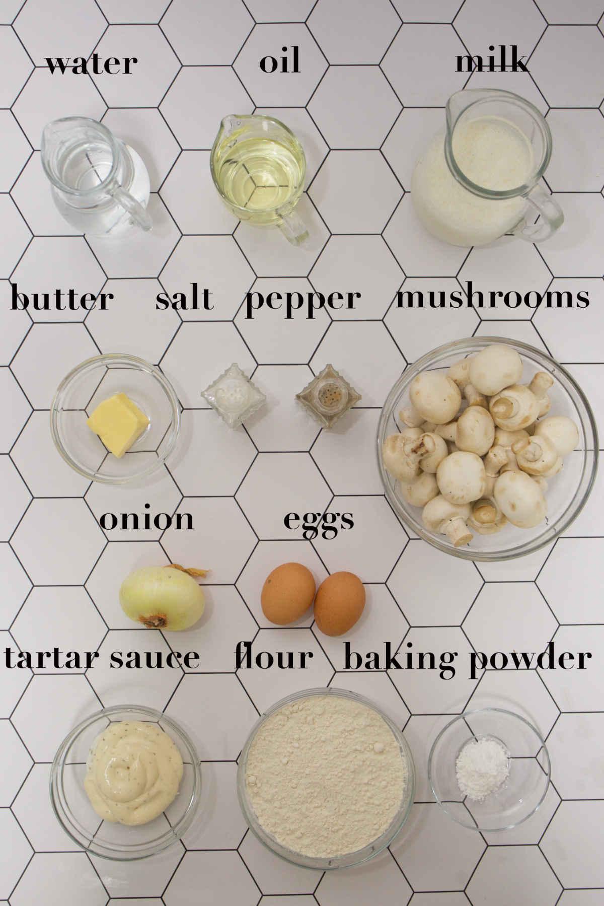 Twelve ingredients on top of the table.