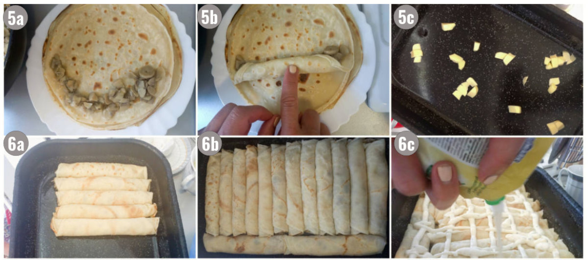 Six photographs of crepes with mushrooms.