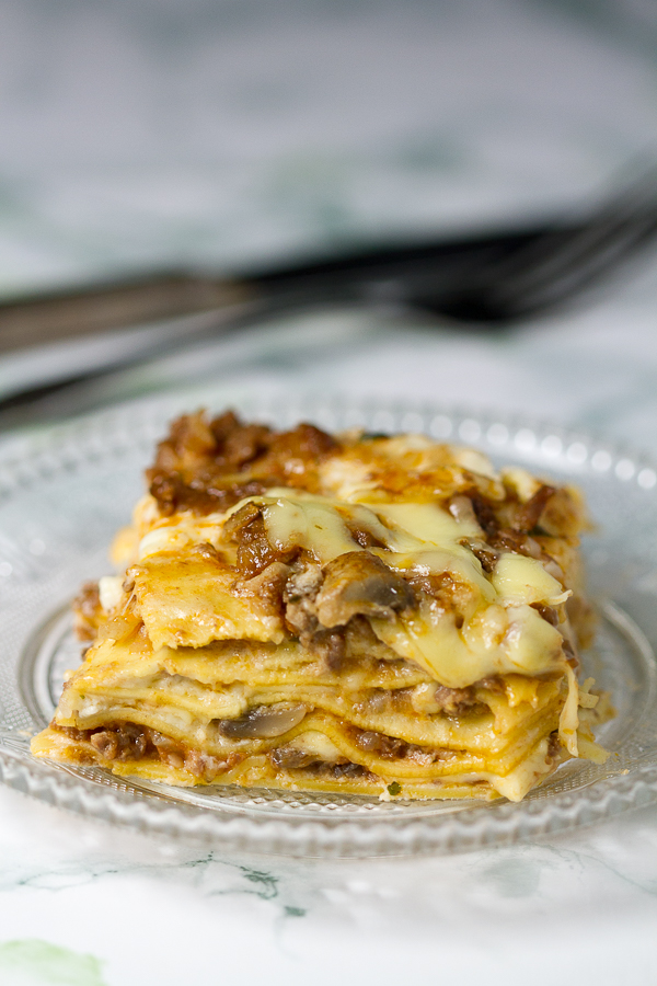Lasagna with bechamel and bolognese sauces