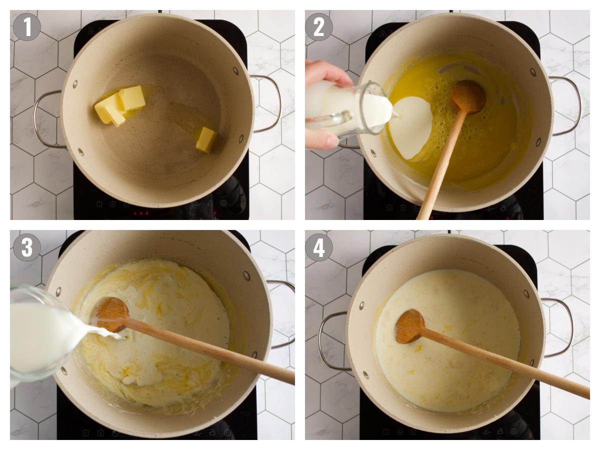 Bechamel sauce instructions.