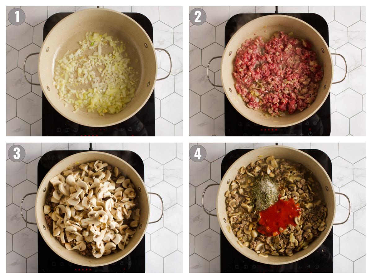 Steps to make bolognese sauce.