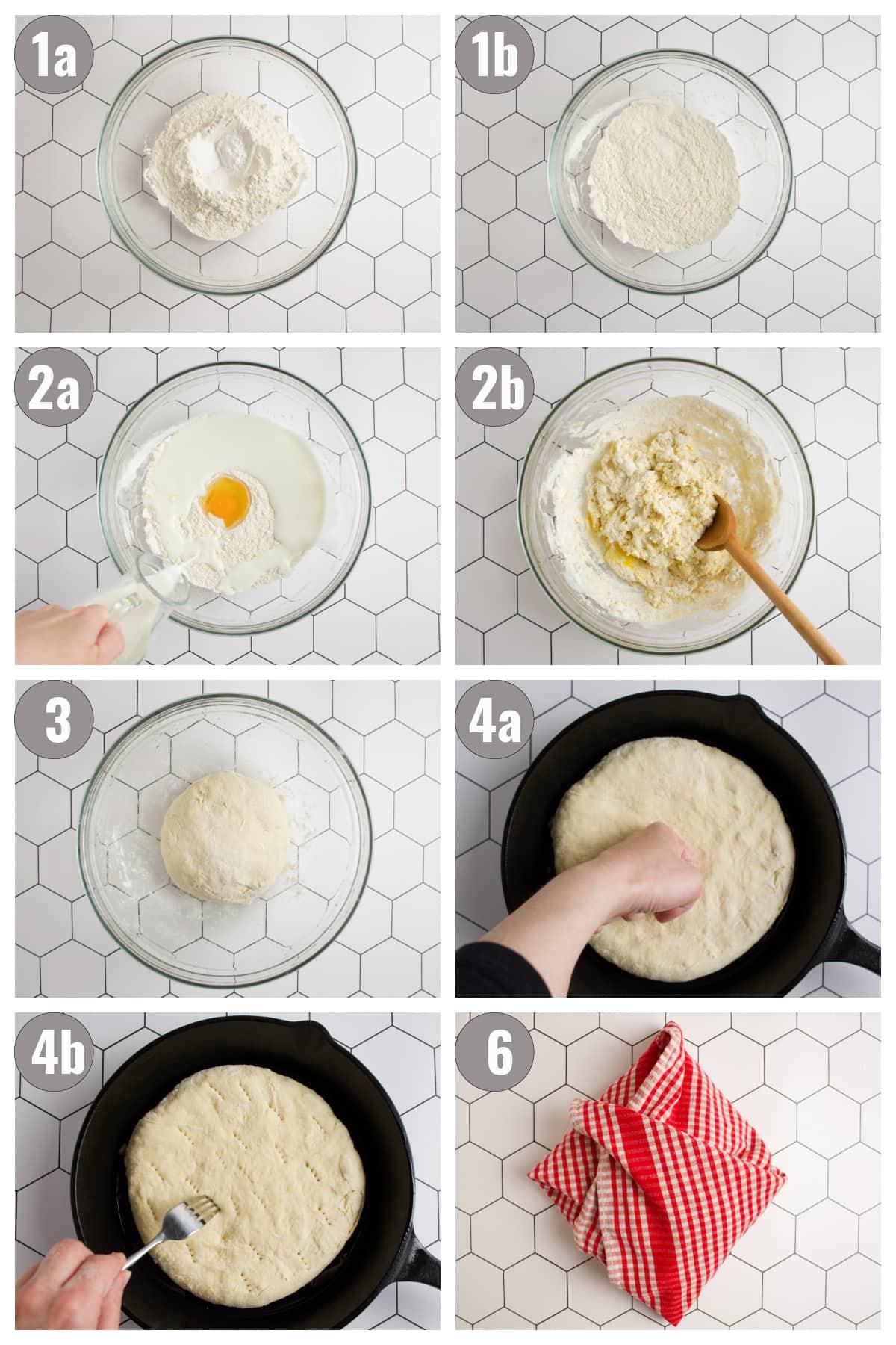 Steps to make pogacha.