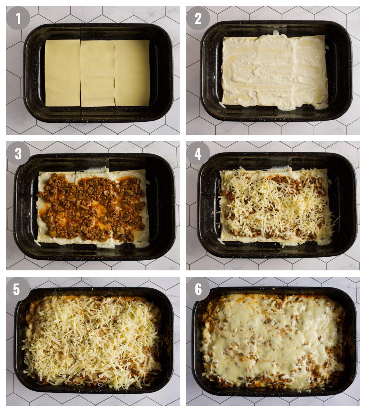 Layering lasagna.