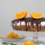 Traditional Serbian cake called Vaso's Cake. Made with dark chocolate, oranges, walnuts and meringue.