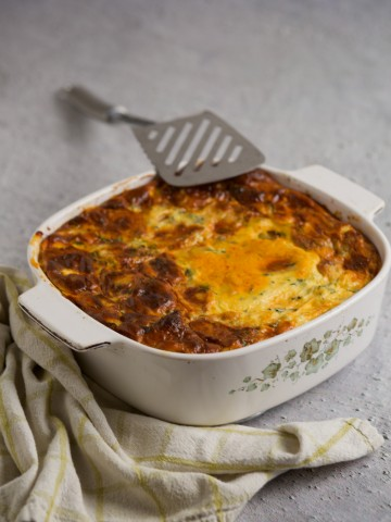 Moussaka in a pan.