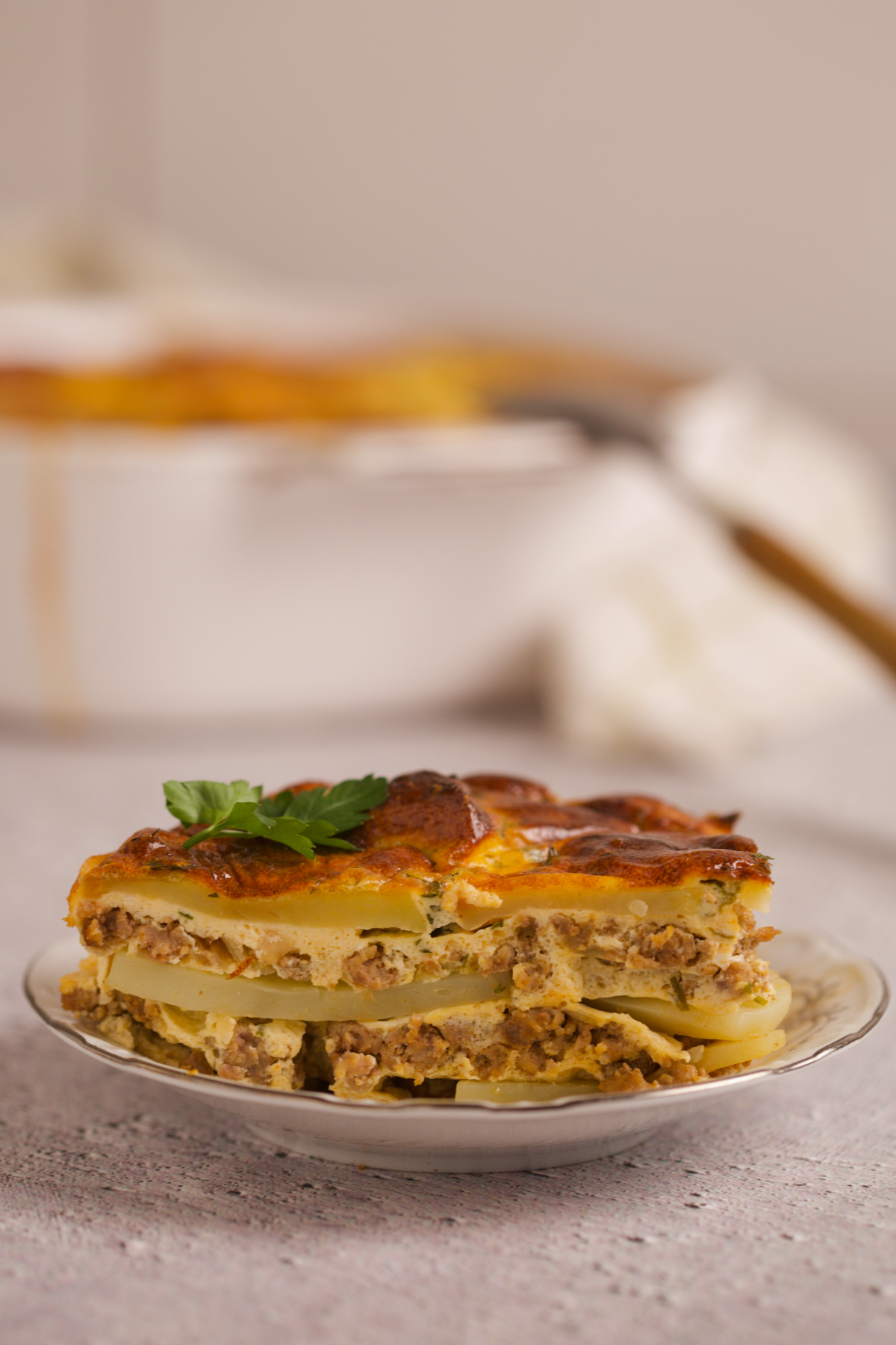 Moussaka on a plate.