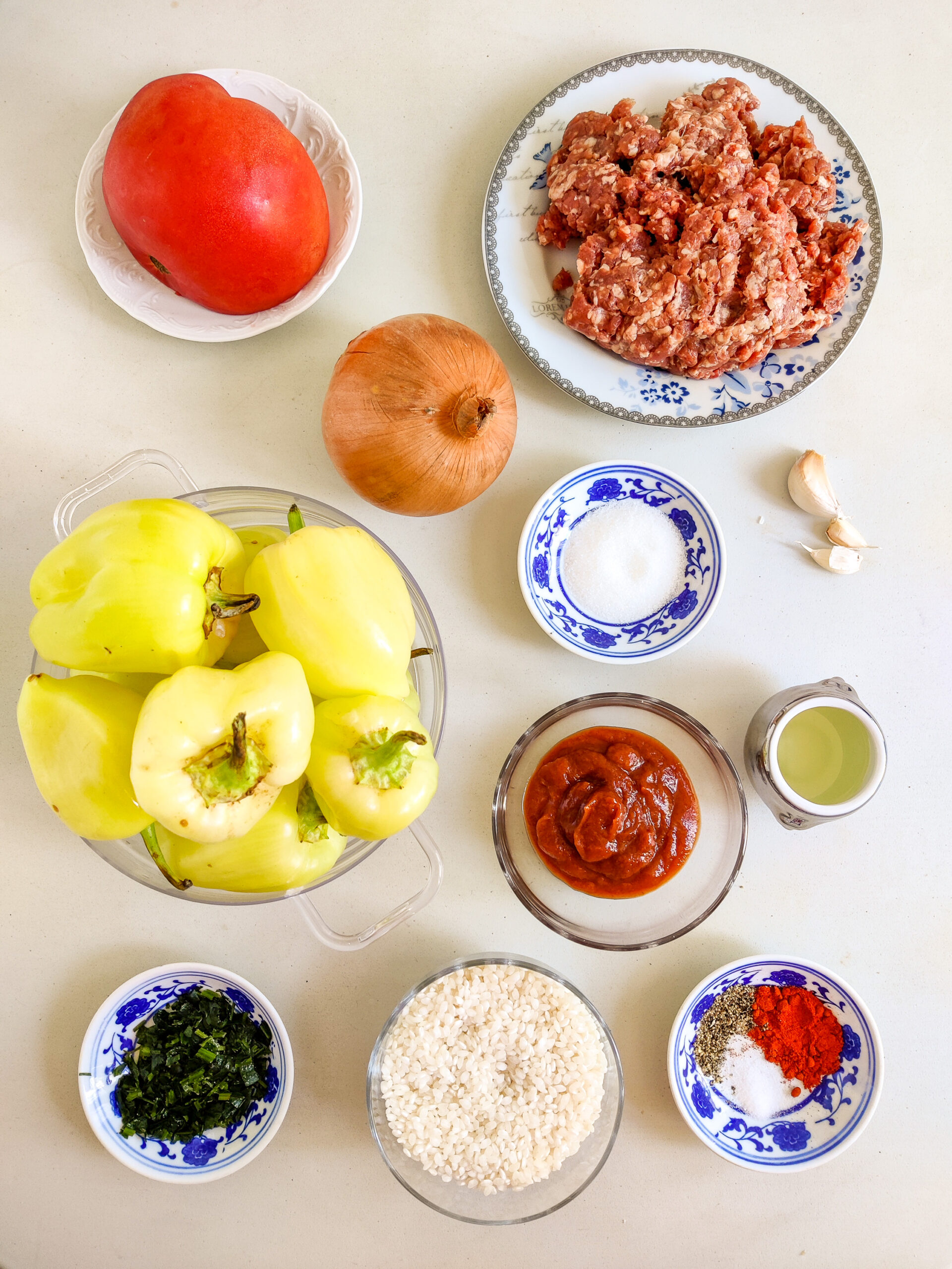 Overhead photo of ingredients for stuffed peppers.