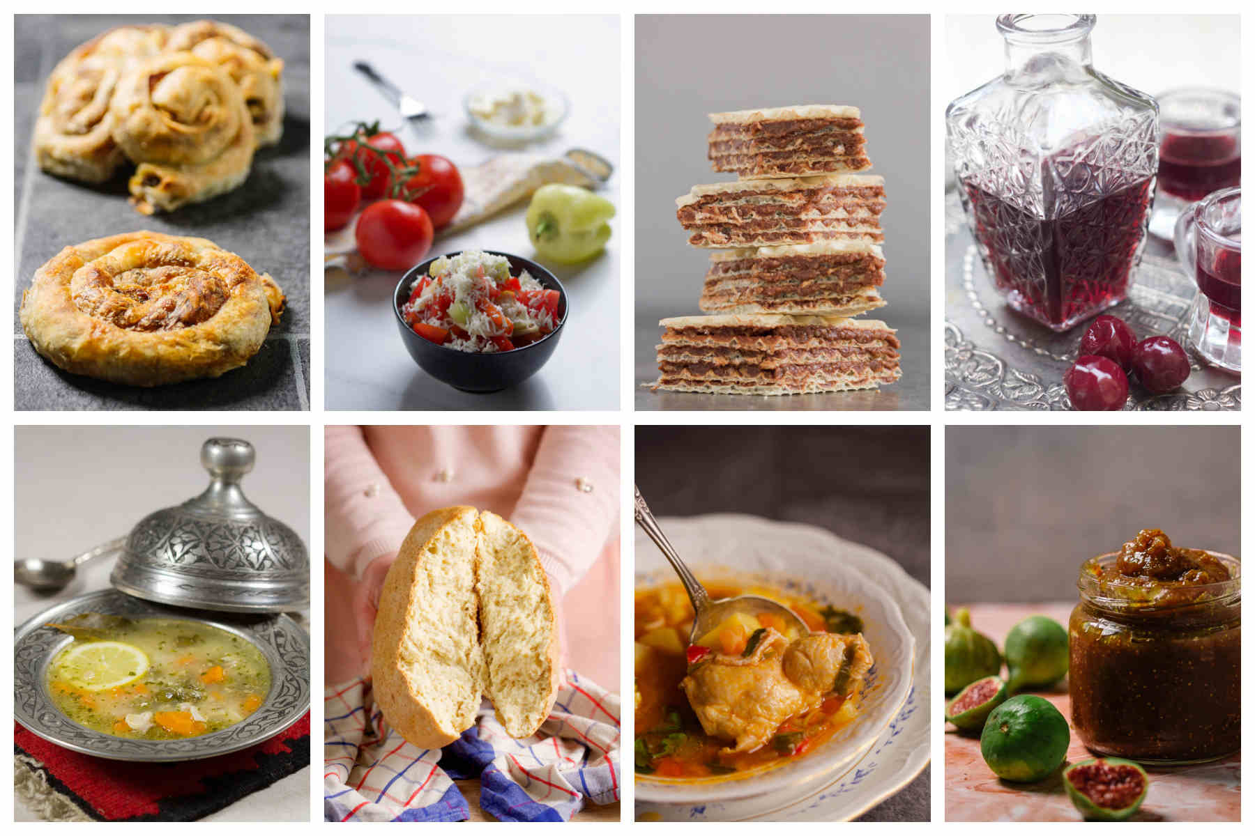 Two rows of four photos depicting different foods.