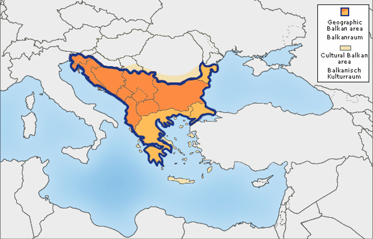 Map of Europe with Balkans highlighted.